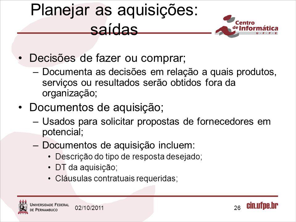 Planejar as aquisições: saídas Decisões de fazer ou comprar; –Documenta as decisões em relação a quais produtos, serviços ou resultados serão obtidos