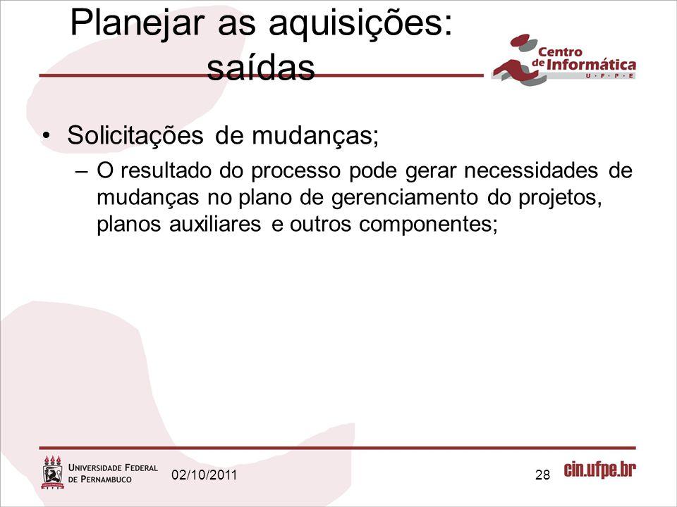 Planejar as aquisições: saídas Solicitações de mudanças; –O resultado do processo pode gerar necessidades de mudanças no plano de gerenciamento do pro
