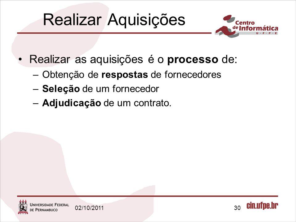 Realizar Aquisições Realizar as aquisições é o processo de: –Obtenção de respostas de fornecedores –Seleção de um fornecedor –Adjudicação de um contra