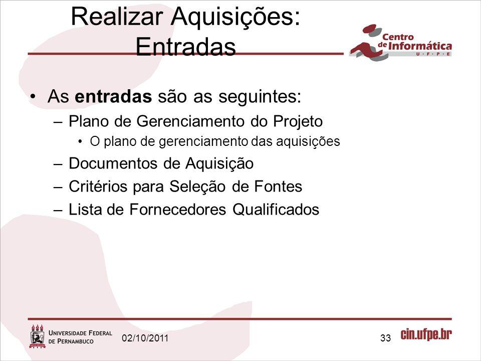 As entradas são as seguintes: –Plano de Gerenciamento do Projeto O plano de gerenciamento das aquisições –Documentos de Aquisição –Critérios para Sele