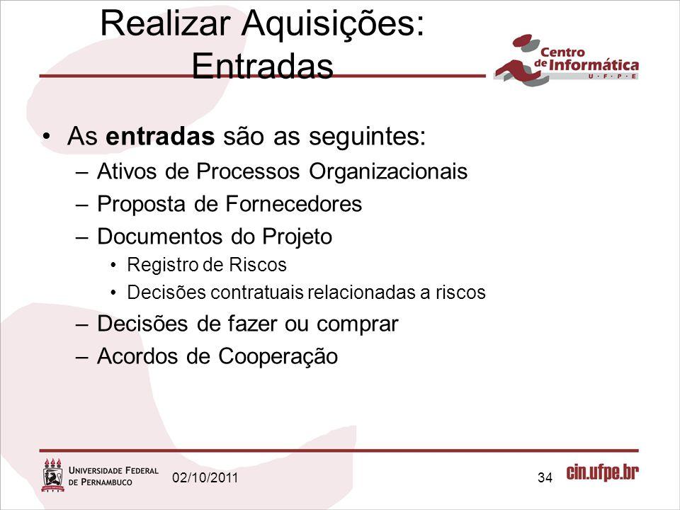 As entradas são as seguintes: –Ativos de Processos Organizacionais –Proposta de Fornecedores –Documentos do Projeto Registro de Riscos Decisões contra