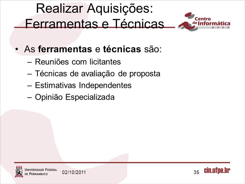 Realizar Aquisições: Ferramentas e Técnicas As ferramentas e técnicas são: –Reuniões com licitantes –Técnicas de avaliação de proposta –Estimativas In