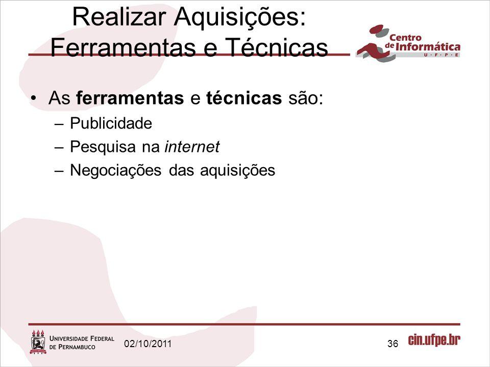 Realizar Aquisições: Ferramentas e Técnicas As ferramentas e técnicas são: –Publicidade –Pesquisa na internet –Negociações das aquisições 3602/10/2011