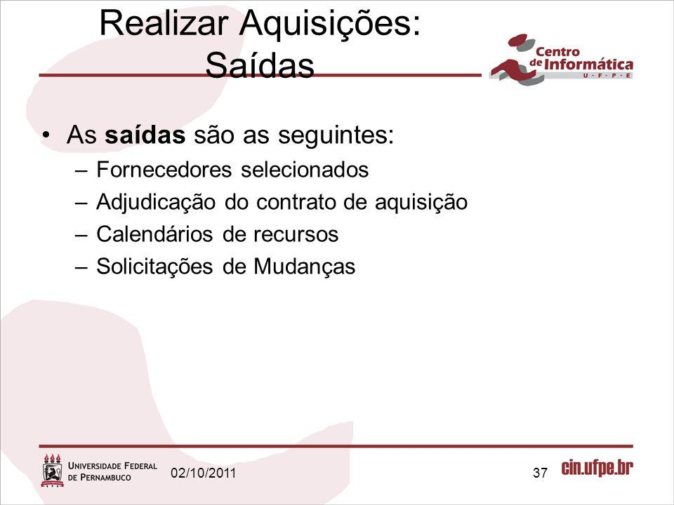 Realizar Aquisições: Saídas As saídas são as seguintes: –Fornecedores selecionados –Adjudicação do contrato de aquisição –Calendários de recursos –Sol