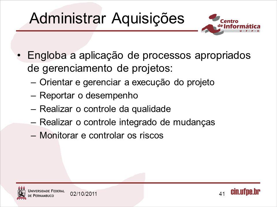 Administrar Aquisições Engloba a aplicação de processos apropriados de gerenciamento de projetos: –Orientar e gerenciar a execução do projeto –Reporta