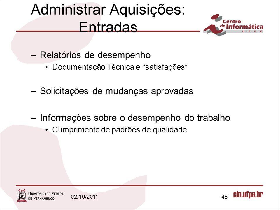 """–Relatórios de desempenho Documentação Técnica e """"satisfações"""" –Solicitações de mudanças aprovadas –Informações sobre o desempenho do trabalho Cumprim"""