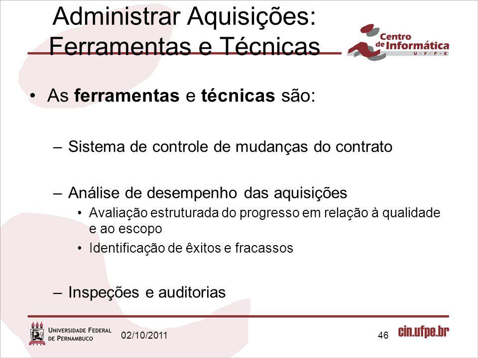 Administrar Aquisições: Ferramentas e Técnicas As ferramentas e técnicas são: –Sistema de controle de mudanças do contrato –Análise de desempenho das
