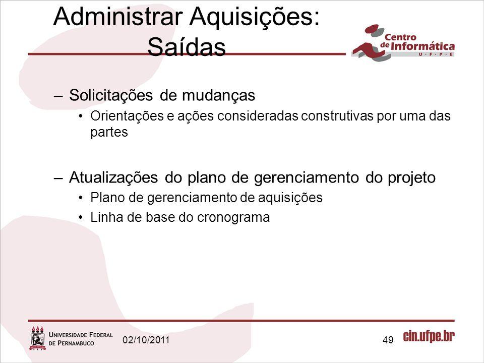 Administrar Aquisições: Saídas –Solicitações de mudanças Orientações e ações consideradas construtivas por uma das partes –Atualizações do plano de ge