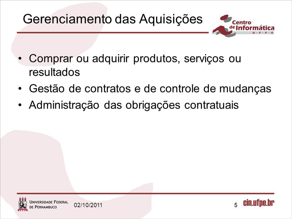 Planejar as aquisições: entradas Cronograma do projeto; Estimativa dos custos das atividades; –Permite avaliar se as licitações ou propostas de fornecedores são razoáveis; Linha de base do desempenho de custos; 02/10/201116