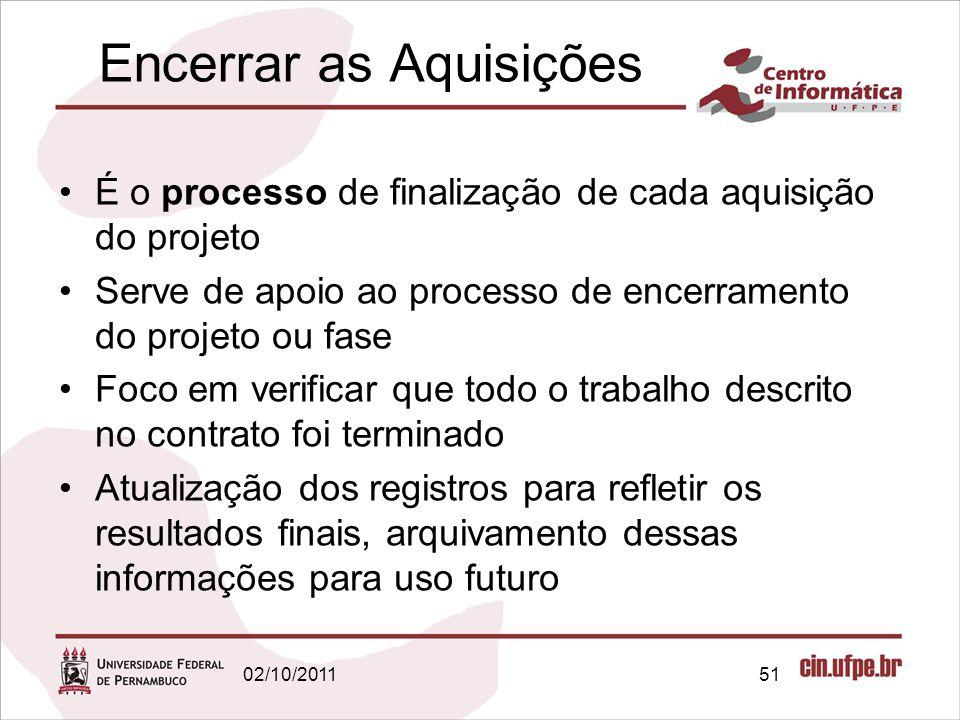 É o processo de finalização de cada aquisição do projeto Serve de apoio ao processo de encerramento do projeto ou fase Foco em verificar que todo o tr