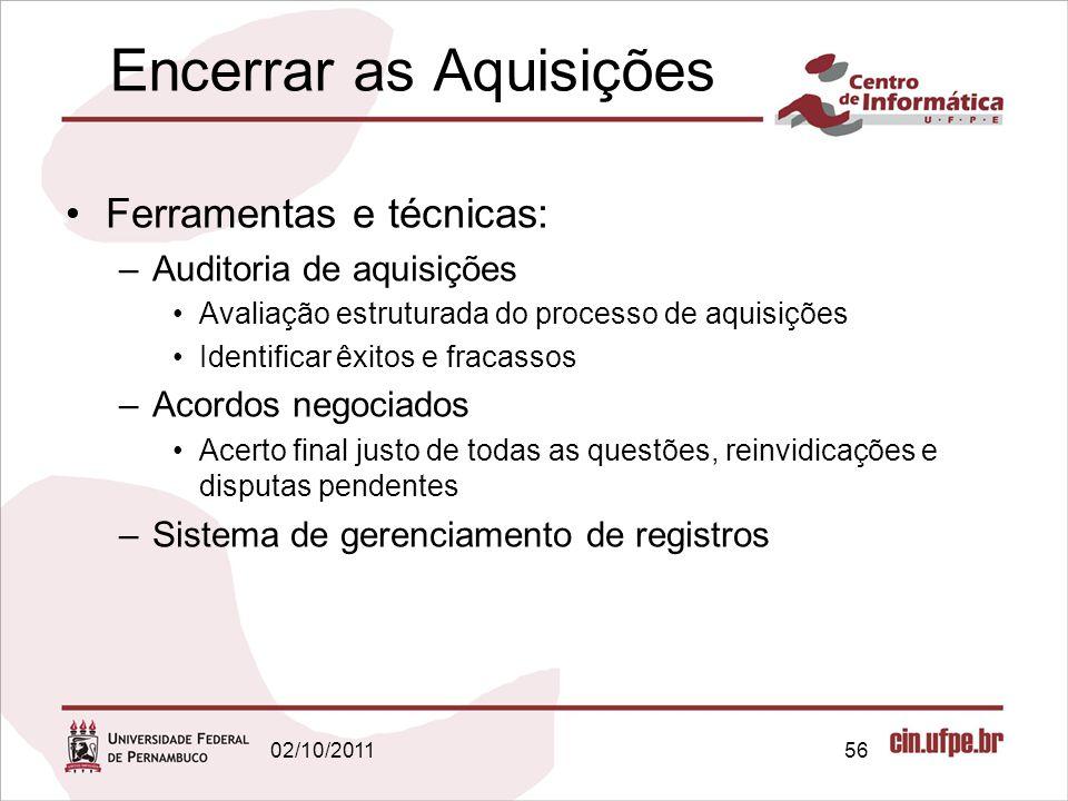 Encerrar as Aquisições Ferramentas e técnicas: –Auditoria de aquisições Avaliação estruturada do processo de aquisições Identificar êxitos e fracassos