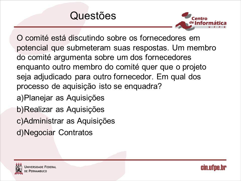 Questões O comité está discutindo sobre os fornecedores em potencial que submeteram suas respostas. Um membro do comité argumenta sobre um dos fornece