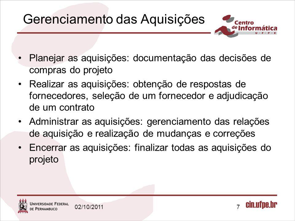 Gerenciamento das Aquisições Planejar as aquisições: documentação das decisões de compras do projeto Realizar as aquisições: obtenção de respostas de