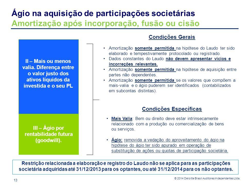 © 2014 Deloitte Brasil Auditores Independentes Ltda. Ágio na aquisição de participações societárias Amortização após incorporação, fusão ou cisão 13 I