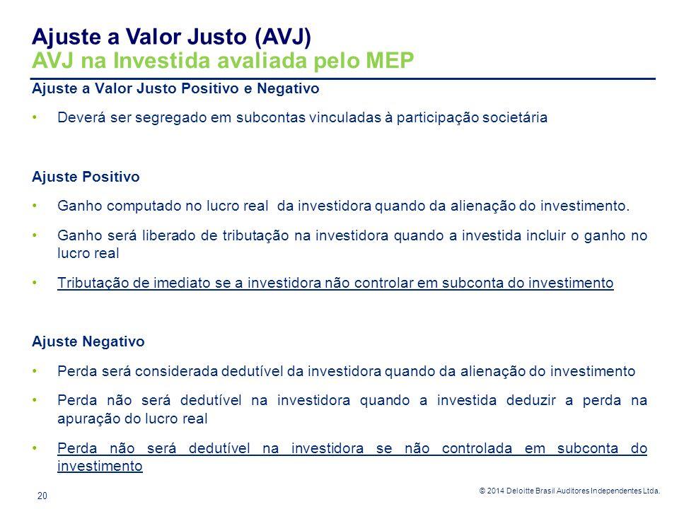 © 2014 Deloitte Brasil Auditores Independentes Ltda. Ajuste a Valor Justo Positivo e Negativo Deverá ser segregado em subcontas vinculadas à participa
