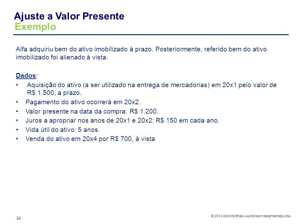 © 2014 Deloitte Brasil Auditores Independentes Ltda. Alfa adquiriu bem do ativo imobilizado à prazo. Posteriormente, referido bem do ativo imobilizado