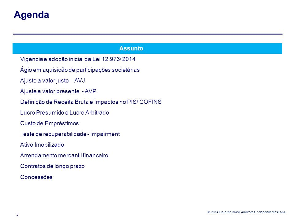 © 2014 Deloitte Brasil Auditores Independentes Ltda. 3 Assunto Vigência e adoção inicial da Lei 12.973/ 2014 Ágio em aquisição de participações societ