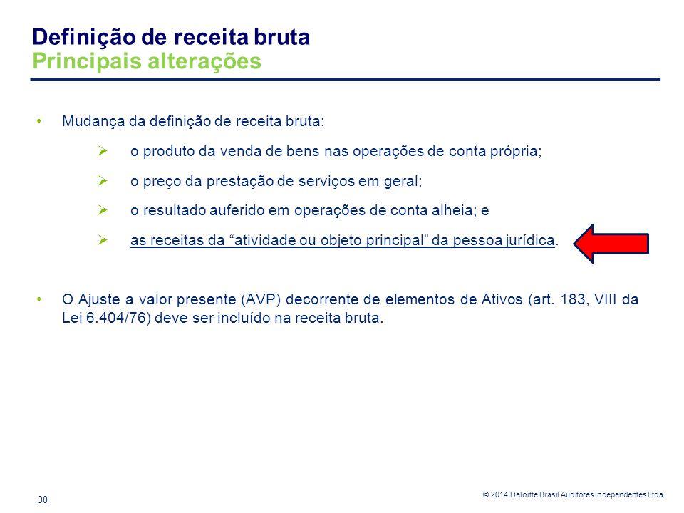 © 2014 Deloitte Brasil Auditores Independentes Ltda. Definição de receita bruta Principais alterações 30 Mudança da definição de receita bruta:  o pr
