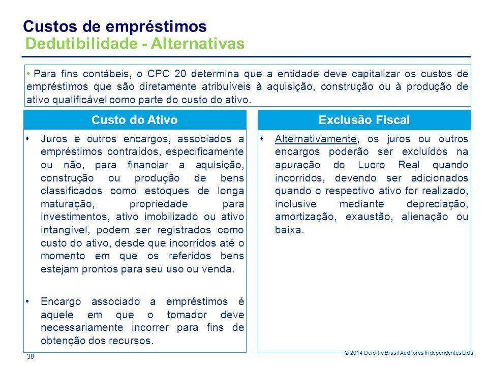 © 2014 Deloitte Brasil Auditores Independentes Ltda. Custos de empréstimos Dedutibilidade - Alternativas Custo do Ativo Juros e outros encargos, assoc