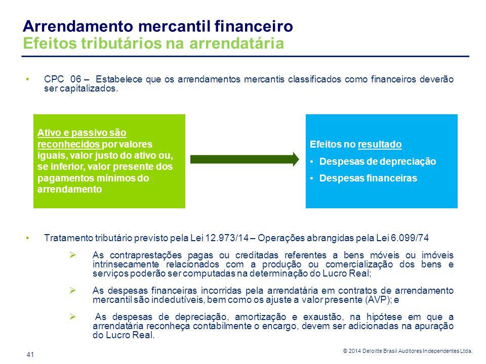 © 2014 Deloitte Brasil Auditores Independentes Ltda. Arrendamento mercantil financeiro Efeitos tributários na arrendatária 41 CPC 06 – Estabelece que