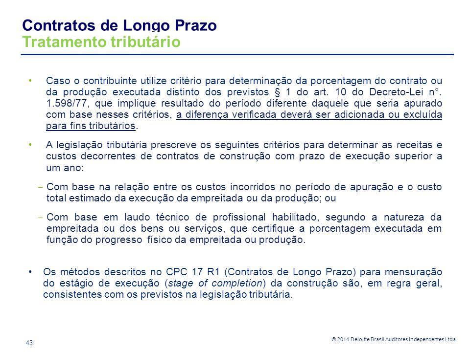 © 2014 Deloitte Brasil Auditores Independentes Ltda. Caso o contribuinte utilize critério para determinação da porcentagem do contrato ou da produção