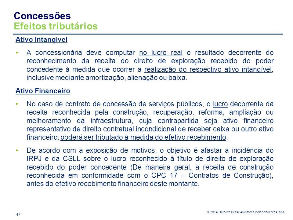 © 2014 Deloitte Brasil Auditores Independentes Ltda. Concessões Efeitos tributários 47 Ativo Intangível A concessionária deve computar no lucro real o