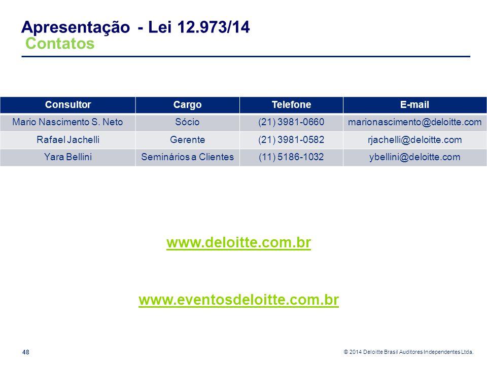 © 2014 Deloitte Brasil Auditores Independentes Ltda. Apresentação - Lei 12.973/14 48 www.deloitte.com.br www.eventosdeloitte.com.br ConsultorCargoTele