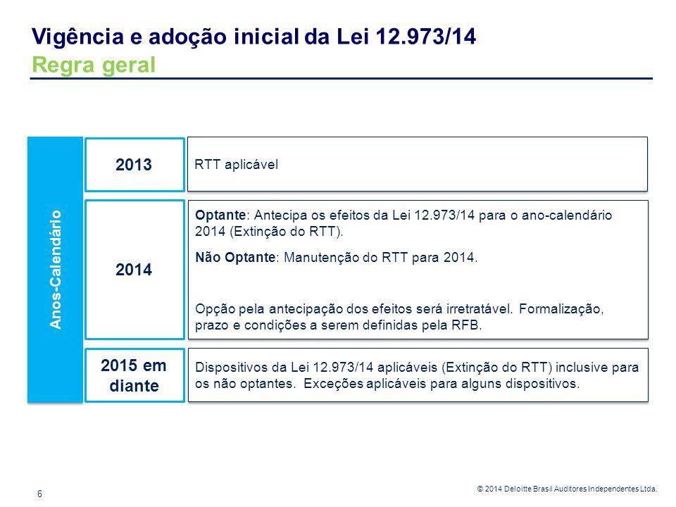 © 2014 Deloitte Brasil Auditores Independentes Ltda. Vigência e adoção inicial da Lei 12.973/14 Regra geral 6 Anos-Calendário 2013 2014 2015 em diante