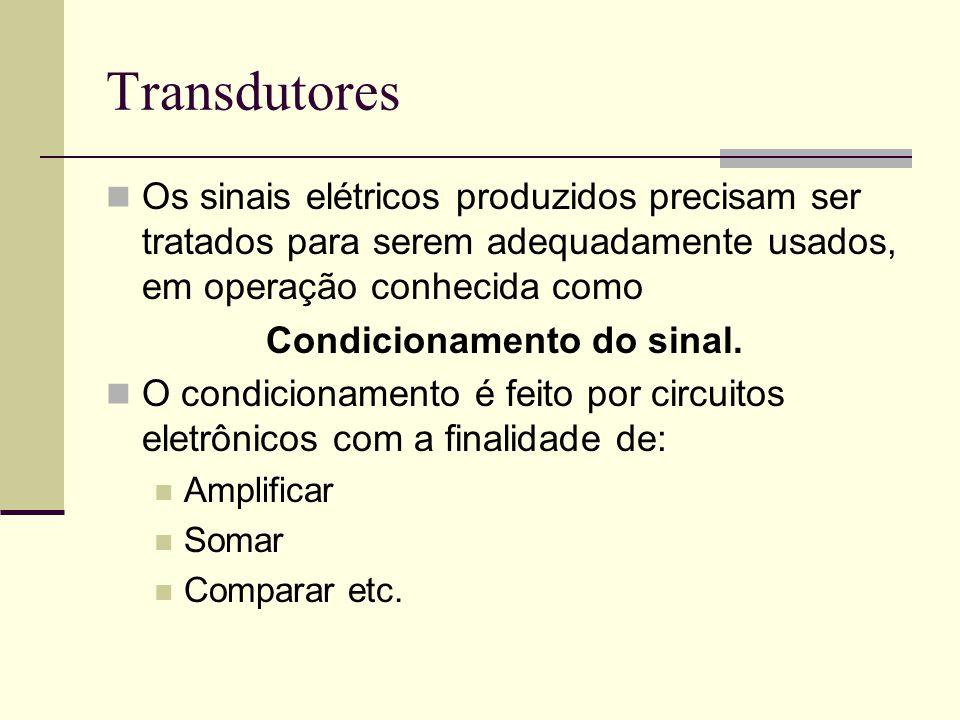Transdutores Os sinais elétricos produzidos precisam ser tratados para serem adequadamente usados, em operação conhecida como Condicionamento do sinal