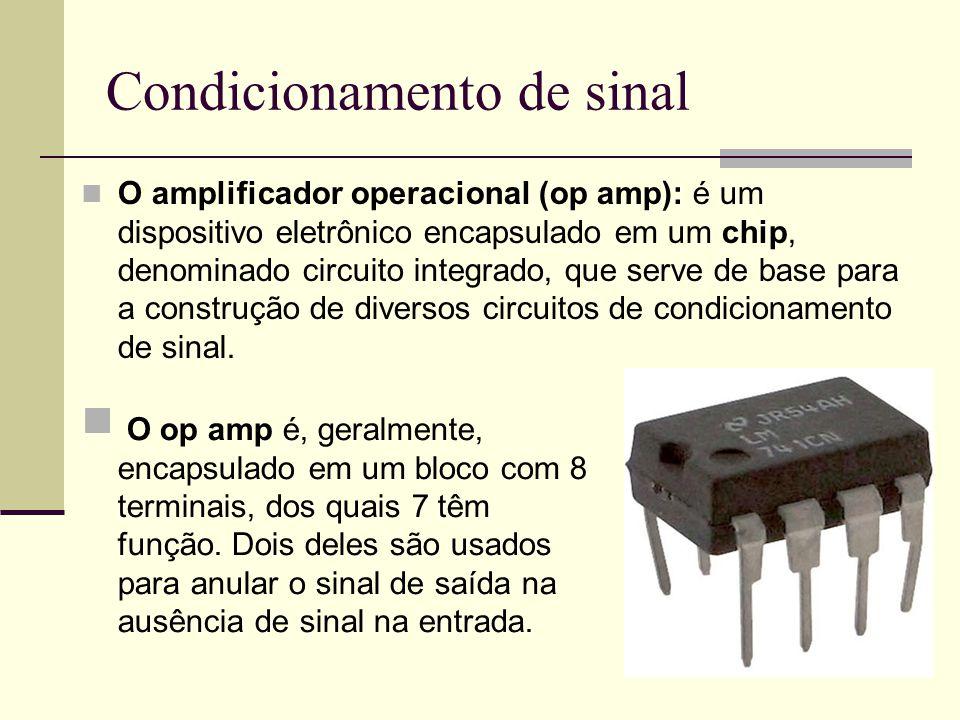 Condicionamento de sinal O amplificador operacional (op amp): é um dispositivo eletrônico encapsulado em um chip, denominado circuito integrado, que s