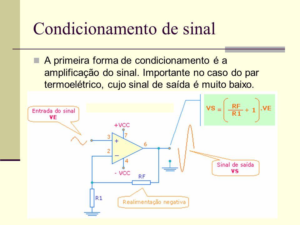 Condicionamento de sinal A primeira forma de condicionamento é a amplificação do sinal. Importante no caso do par termoelétrico, cujo sinal de saída é