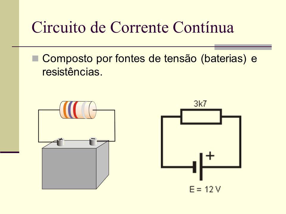 Circuito de Corrente Contínua Composto por fontes de tensão (baterias) e resistências.