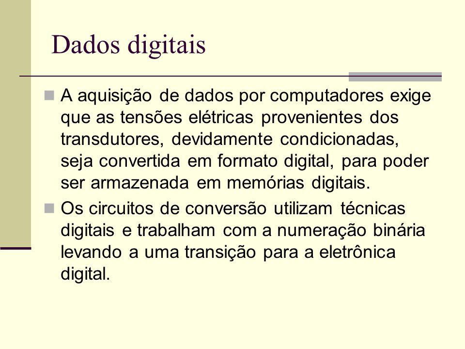 Dados digitais A aquisição de dados por computadores exige que as tensões elétricas provenientes dos transdutores, devidamente condicionadas, seja con