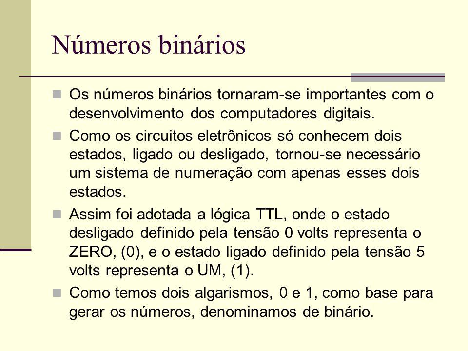 Números binários Os números binários tornaram-se importantes com o desenvolvimento dos computadores digitais. Como os circuitos eletrônicos só conhece