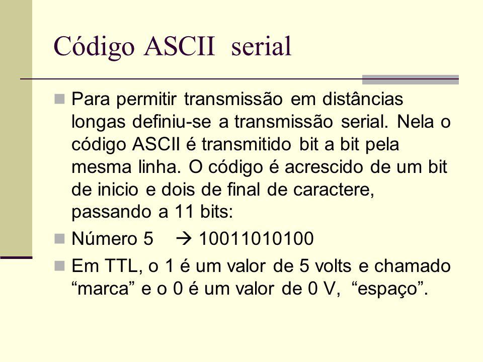 Código ASCII serial Para permitir transmissão em distâncias longas definiu-se a transmissão serial. Nela o código ASCII é transmitido bit a bit pela m