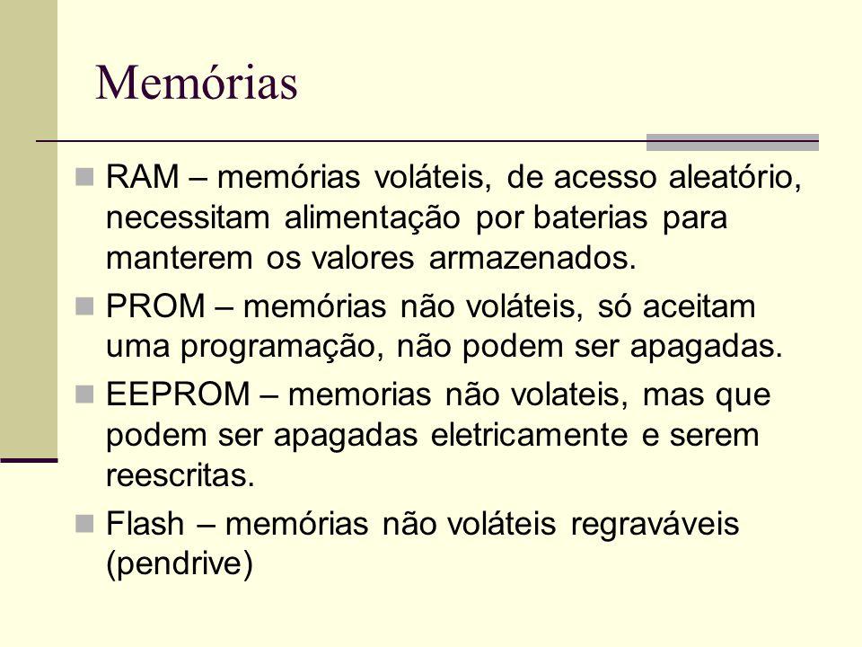 Memórias RAM – memórias voláteis, de acesso aleatório, necessitam alimentação por baterias para manterem os valores armazenados. PROM – memórias não v