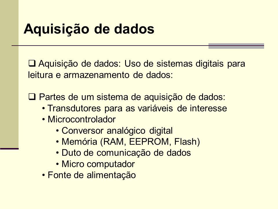 Aquisição de dados  Aquisição de dados: Uso de sistemas digitais para leitura e armazenamento de dados:  Partes de um sistema de aquisição de dados: