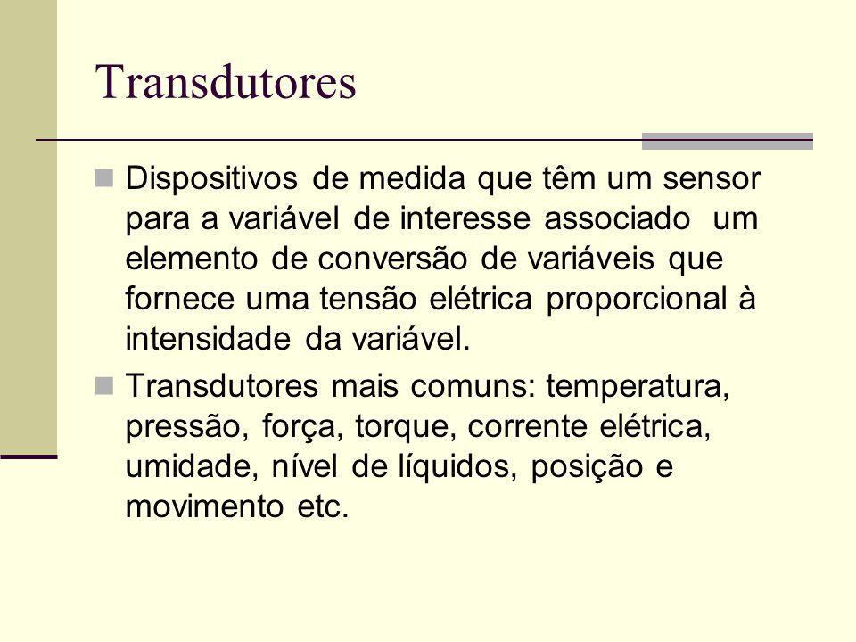 Transdutores Dispositivos de medida que têm um sensor para a variável de interesse associado um elemento de conversão de variáveis que fornece uma ten