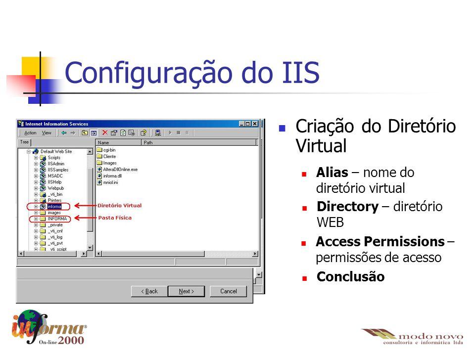 Configuração do IIS Criação do Diretório Virtual Alias – nome do diretório virtual Directory – diretório WEB Access Permissions – permissões de acesso