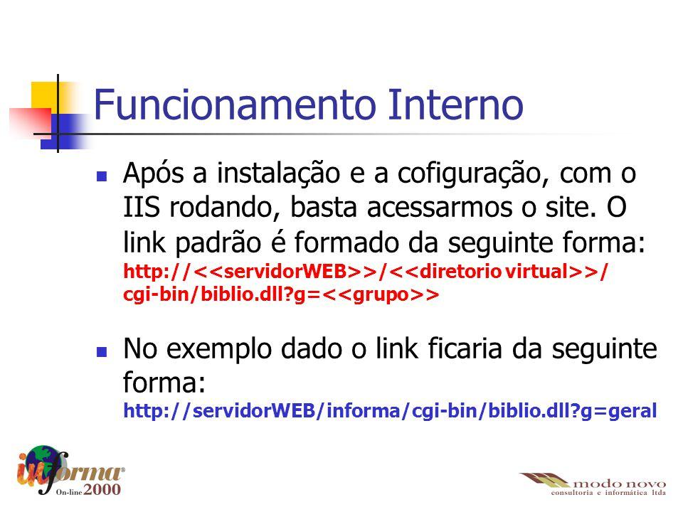 Funcionamento Interno Após a instalação e a cofiguração, com o IIS rodando, basta acessarmos o site. O link padrão é formado da seguinte forma: http:/