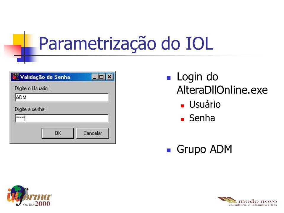 Parametrização do IOL Login do AlteraDllOnline.exe Usuário Senha Grupo ADM