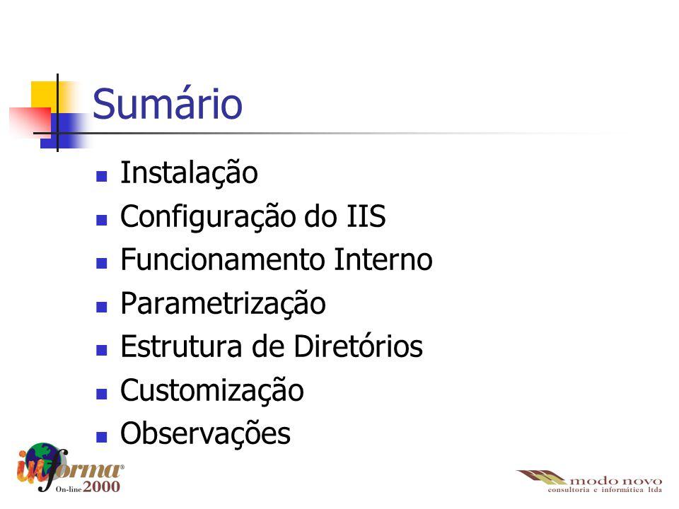 Sumário Instalação Configuração do IIS Funcionamento Interno Parametrização Estrutura de Diretórios Customização Observações
