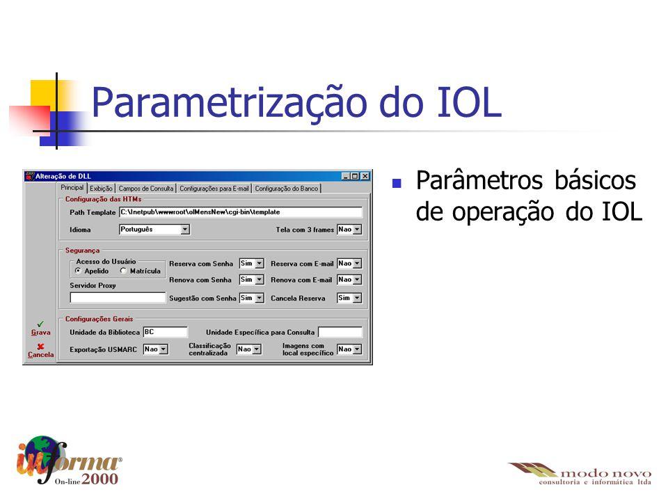 Parametrização do IOL Parâmetros básicos de operação do IOL