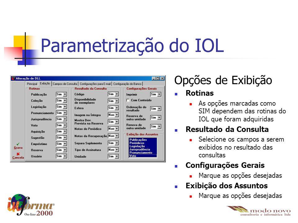 Parametrização do IOL Opções de Exibição Rotinas As opções marcadas como SIM dependem das rotinas do IOL que foram adquiridas Resultado da Consulta Se