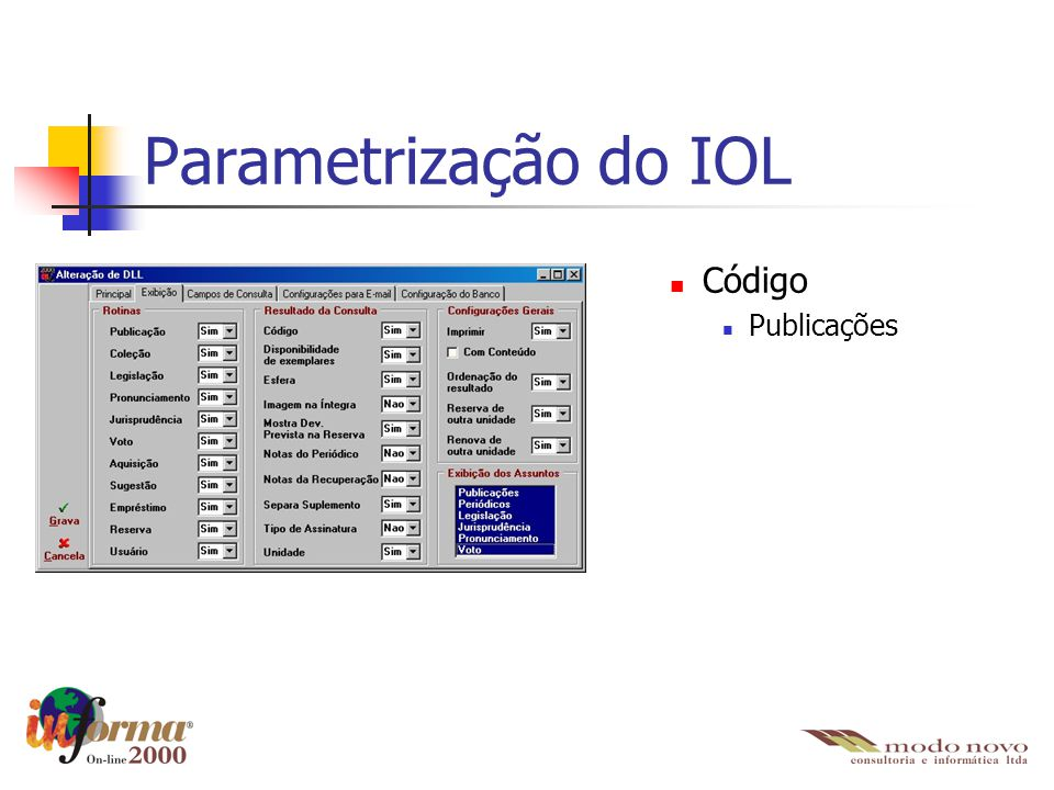 Parametrização do IOL Código Publicações