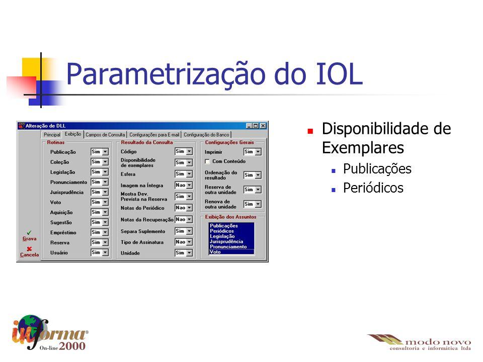 Parametrização do IOL Disponibilidade de Exemplares Publicações Periódicos