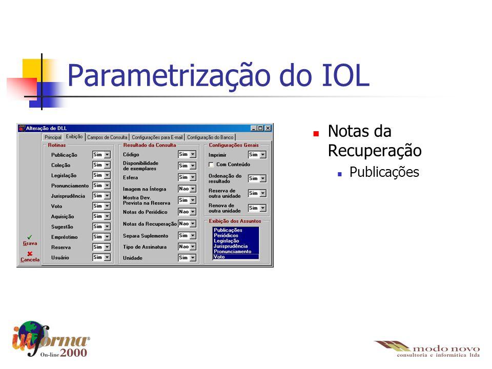 Parametrização do IOL Notas da Recuperação Publicações
