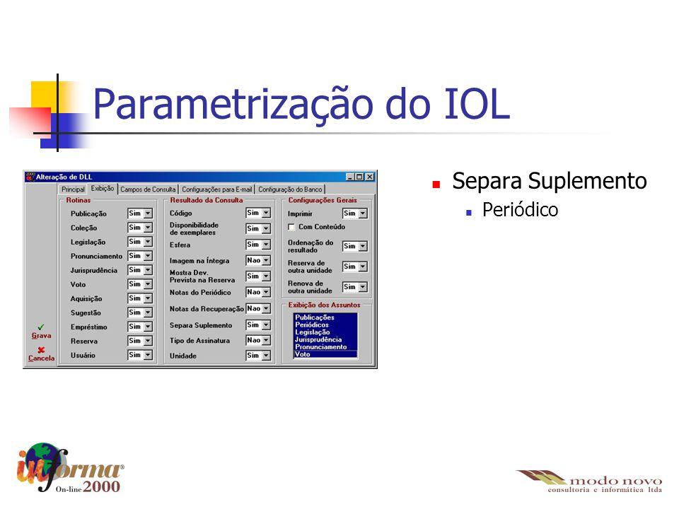Separa Suplemento Periódico Parametrização do IOL