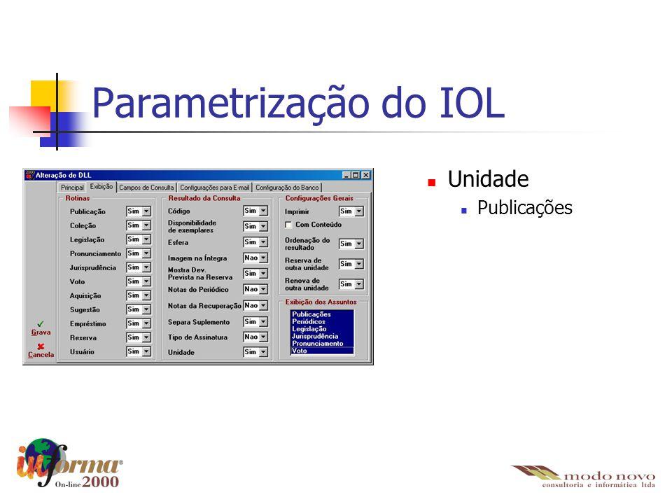 Parametrização do IOL Unidade Publicações