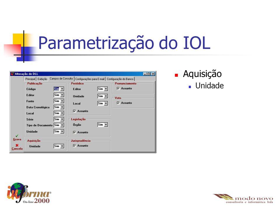 Aquisição Unidade Parametrização do IOL